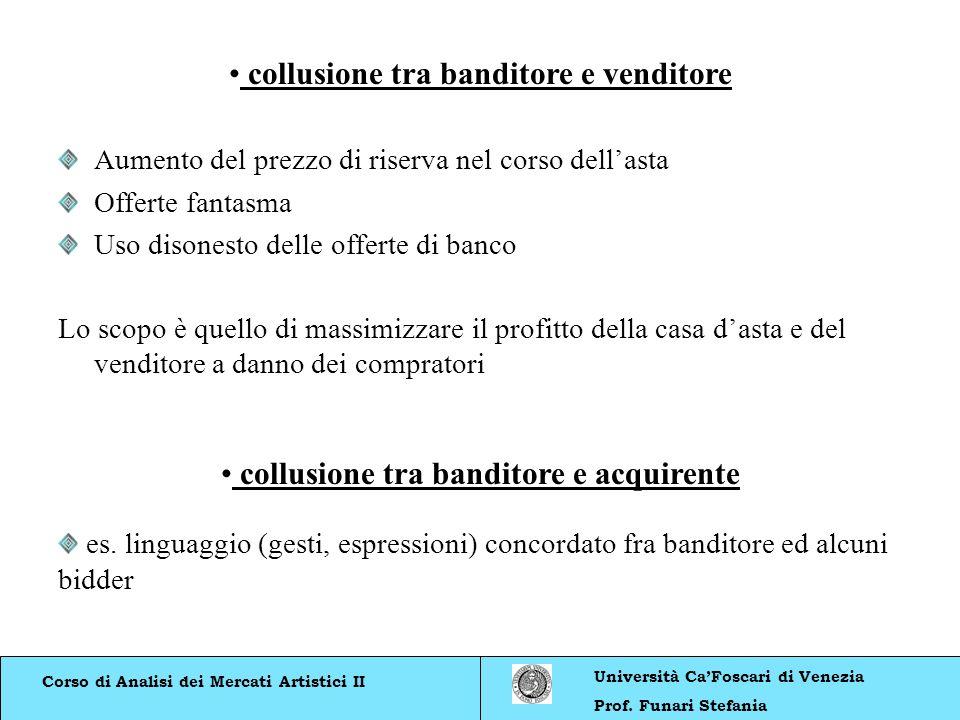 Corso di Analisi dei Mercati Artistici II Università CaFoscari di Venezia Prof. Funari Stefania collusione tra banditore e venditore Aumento del prezz