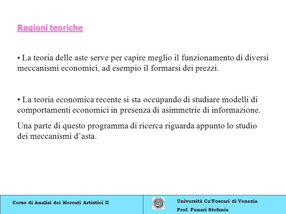 Corso di Analisi dei Mercati Artistici II Università CaFoscari di Venezia Prof. Funari Stefania Ragioni teoriche La teoria delle aste serve per capire