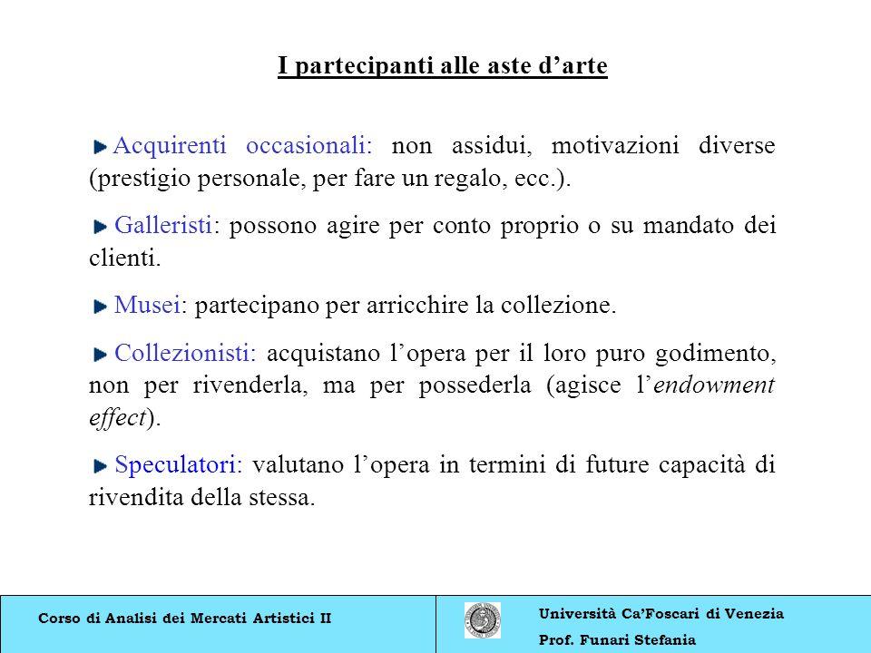Corso di Analisi dei Mercati Artistici II Università CaFoscari di Venezia Prof. Funari Stefania Acquirenti occasionali: non assidui, motivazioni diver