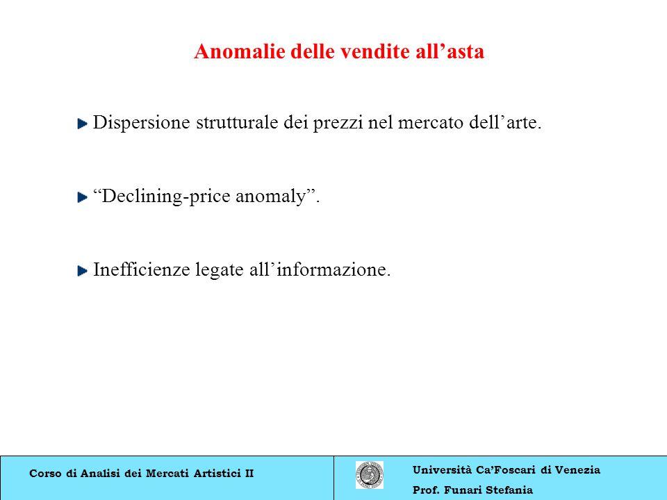 Corso di Analisi dei Mercati Artistici II Università CaFoscari di Venezia Prof. Funari Stefania Dispersione strutturale dei prezzi nel mercato dellart
