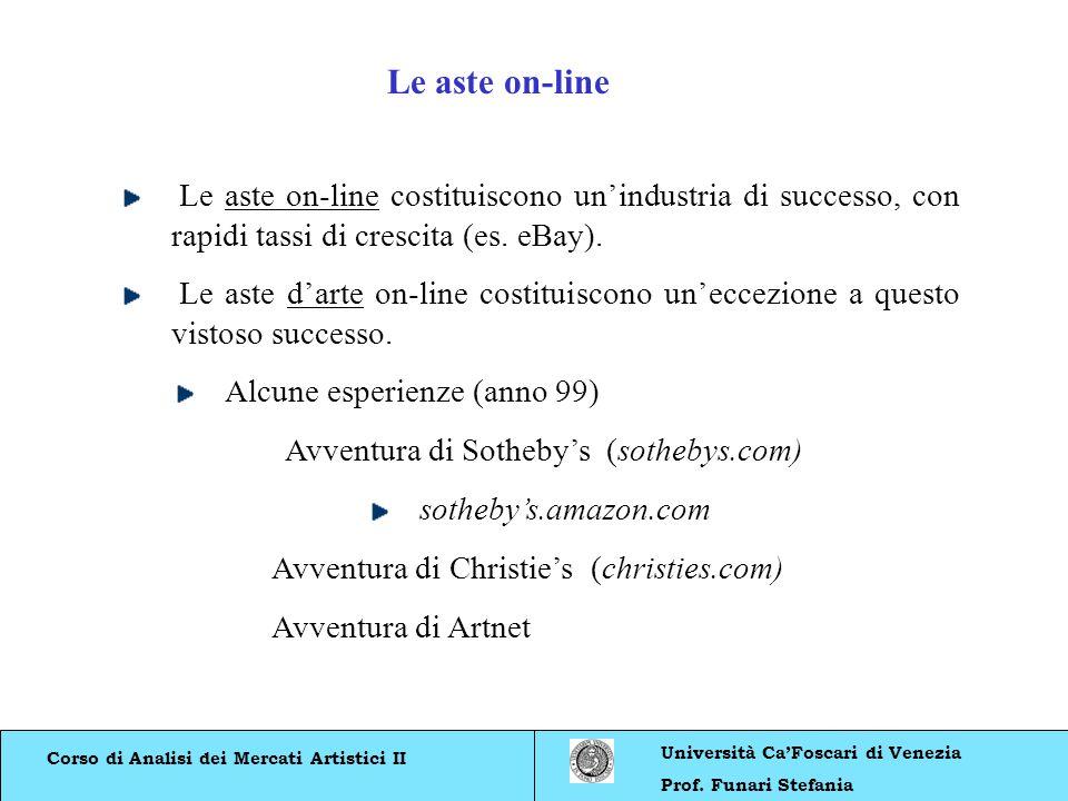 Corso di Analisi dei Mercati Artistici II Università CaFoscari di Venezia Prof. Funari Stefania Le aste on-line costituiscono unindustria di successo,