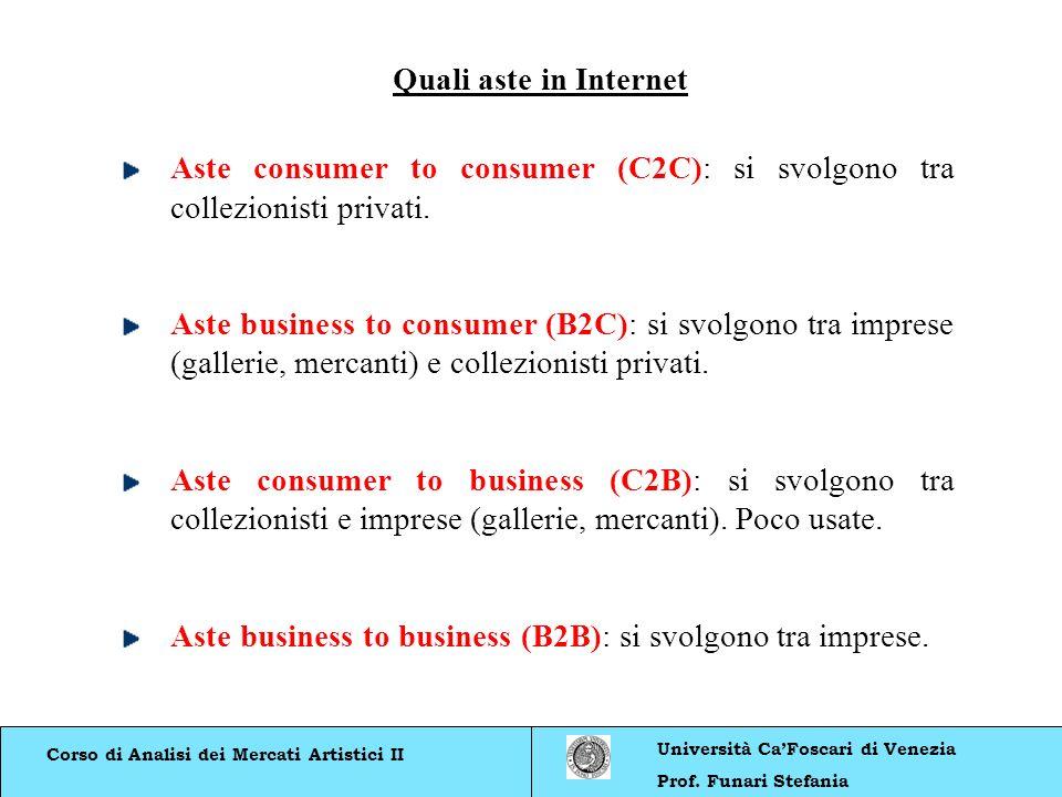 Corso di Analisi dei Mercati Artistici II Università CaFoscari di Venezia Prof. Funari Stefania Quali aste in Internet Aste consumer to consumer (C2C)