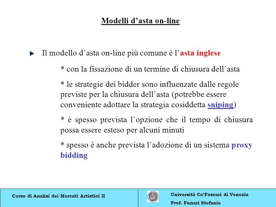 Corso di Analisi dei Mercati Artistici II Università CaFoscari di Venezia Prof. Funari Stefania Modelli dasta on-line Il modello dasta on-line più com