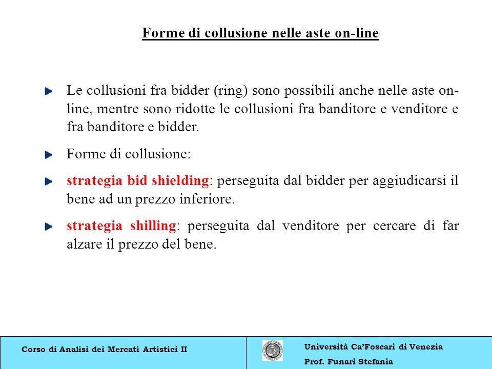 Corso di Analisi dei Mercati Artistici II Università CaFoscari di Venezia Prof. Funari Stefania Forme di collusione nelle aste on-line Le collusioni f