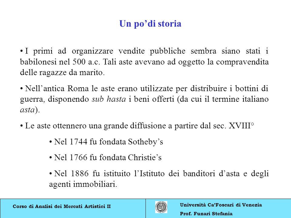 Corso di Analisi dei Mercati Artistici II Università CaFoscari di Venezia Prof. Funari Stefania Un podi storia I primi ad organizzare vendite pubblich