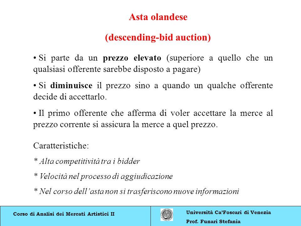 Corso di Analisi dei Mercati Artistici II Università CaFoscari di Venezia Prof. Funari Stefania Asta olandese (descending-bid auction) Si parte da un