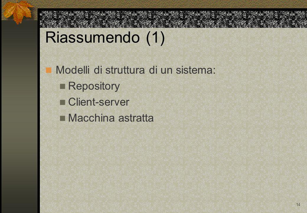 14 Riassumendo (1) Modelli di struttura di un sistema: Repository Client-server Macchina astratta