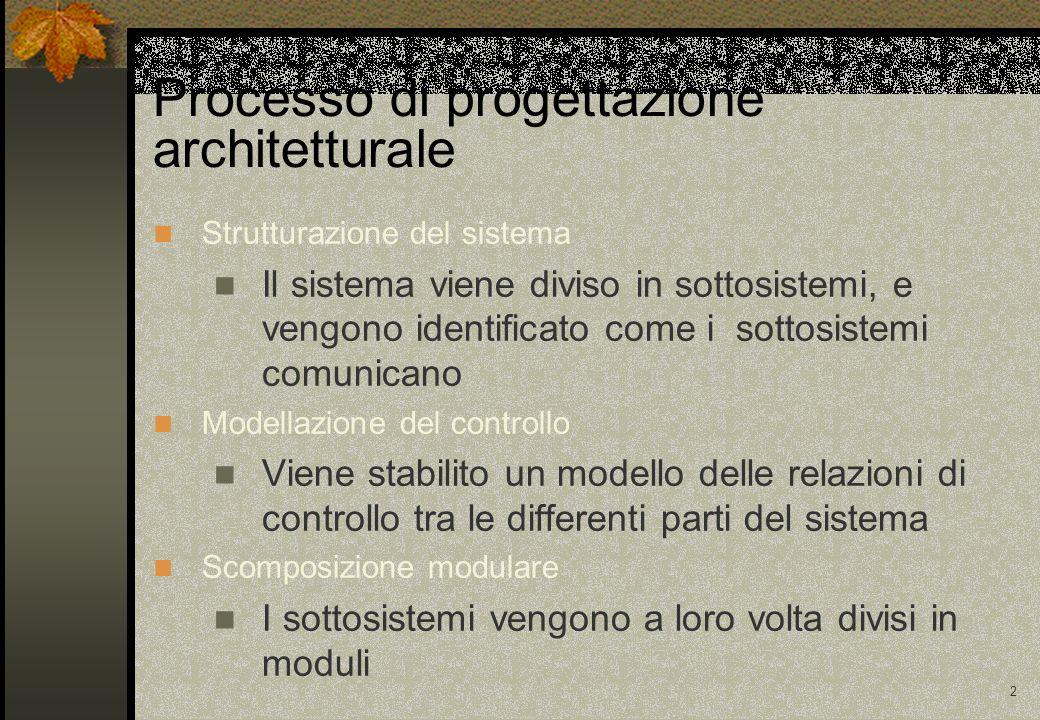 2 Processo di progettazione architetturale Strutturazione del sistema Il sistema viene diviso in sottosistemi, e vengono identificato come i sottosistemi comunicano Modellazione del controllo Viene stabilito un modello delle relazioni di controllo tra le differenti parti del sistema Scomposizione modulare I sottosistemi vengono a loro volta divisi in moduli