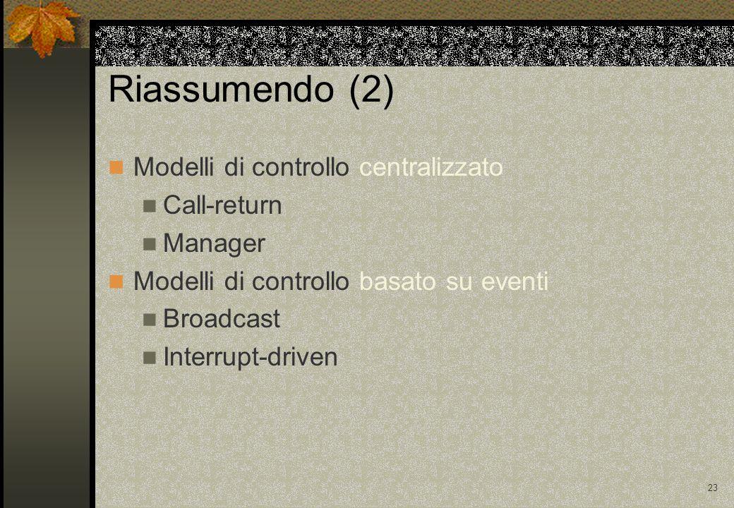23 Riassumendo (2) Modelli di controllo centralizzato Call-return Manager Modelli di controllo basato su eventi Broadcast Interrupt-driven