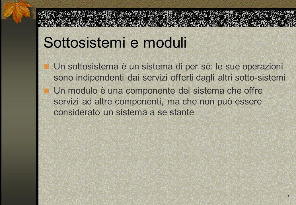 3 Sottosistemi e moduli Un sottosistema è un sistema di per sè: le sue operazioni sono indipendenti dai servizi offerti dagli altri sotto-sistemi Un modulo è una componente del sistema che offre servizi ad altre componenti, ma che non può essere considerato un sistema a se stante
