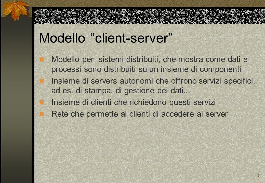 9 Modello client-server Modello per sistemi distribuiti, che mostra come dati e processi sono distribuiti su un insieme di componenti Insieme di servers autonomi che offrono servizi specifici, ad es.