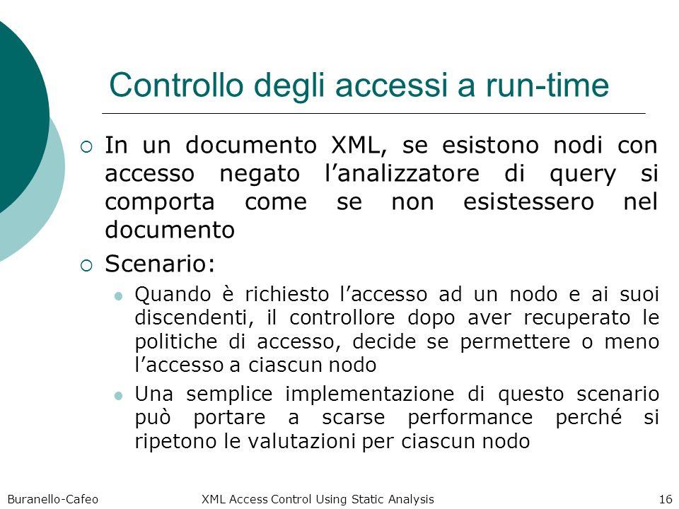 Buranello-Cafeo XML Access Control Using Static Analysis 16 Controllo degli accessi a run-time In un documento XML, se esistono nodi con accesso negat