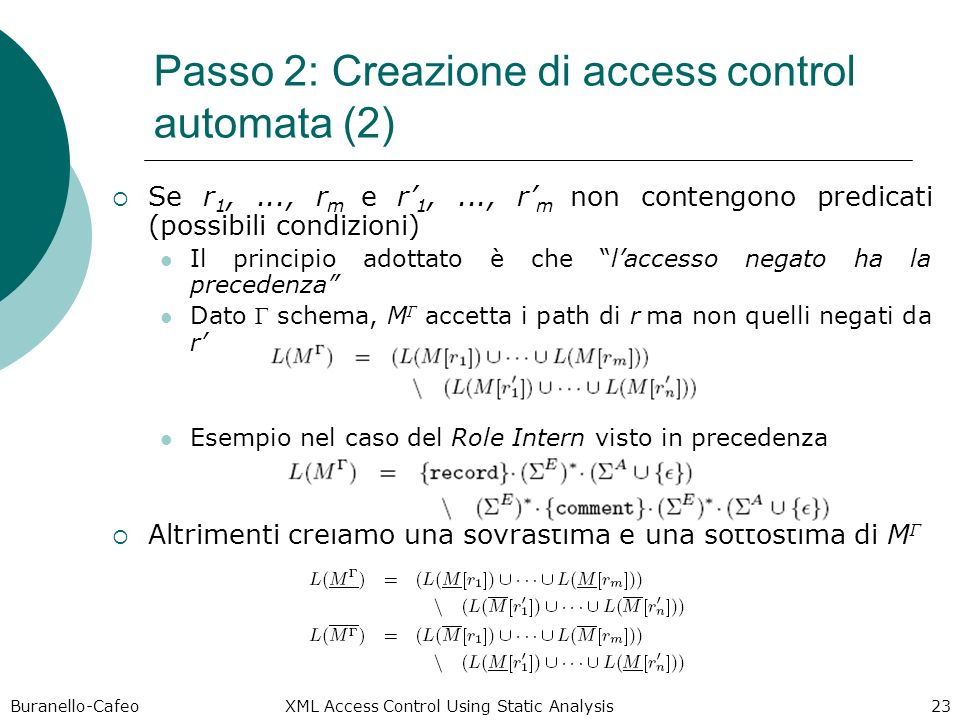 Buranello-Cafeo XML Access Control Using Static Analysis 23 Passo 2: Creazione di access control automata (2) Se r 1,..., r m e r 1,..., r m non contengono predicati (possibili condizioni) Il principio adottato è che laccesso negato ha la precedenza Dato Γ schema, M Γ accetta i path di r ma non quelli negati da r Esempio nel caso del Role Intern visto in precedenza Altrimenti creiamo una sovrastima e una sottostima di M Γ