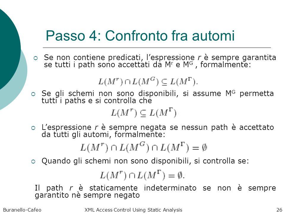 Buranello-Cafeo XML Access Control Using Static Analysis 26 Passo 4: Confronto fra automi Se non contiene predicati, lespressione r è sempre garantita se tutti i path sono accettati da M r e M G, formalmente: Se gli schemi non sono disponibili, si assume M G permetta tutti i paths e si controlla che Lespressione r è sempre negata se nessun path è accettato da tutti gli automi, formalmente: Quando gli schemi non sono disponibili, si controlla se: Il path r è staticamente indeterminato se non è sempre garantito nè sempre negato
