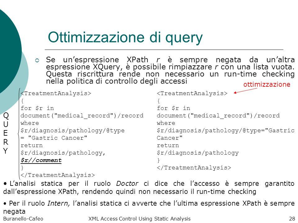 Buranello-Cafeo XML Access Control Using Static Analysis 28 Ottimizzazione di query Se unespressione XPath r è sempre negata da unaltra espressione XQuery, è possibile rimpiazzare r con una lista vuota.