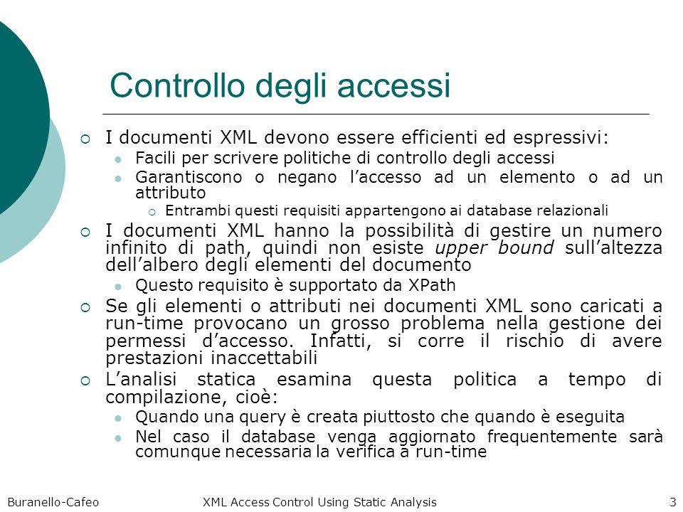 Buranello-Cafeo XML Access Control Using Static Analysis 3 Controllo degli accessi I documenti XML devono essere efficienti ed espressivi: Facili per