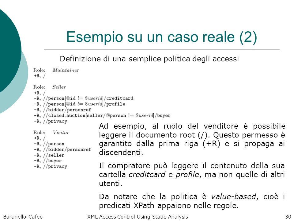 Buranello-Cafeo XML Access Control Using Static Analysis 30 Esempio su un caso reale (2) Definizione di una semplice politica degli accessi Ad esempio, al ruolo del venditore è possibile leggere il documento root (/).