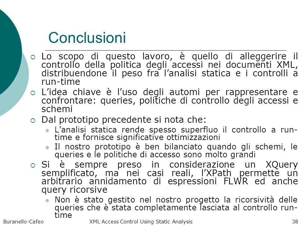 Buranello-Cafeo XML Access Control Using Static Analysis 38 Conclusioni Lo scopo di questo lavoro, è quello di alleggerire il controllo della politica