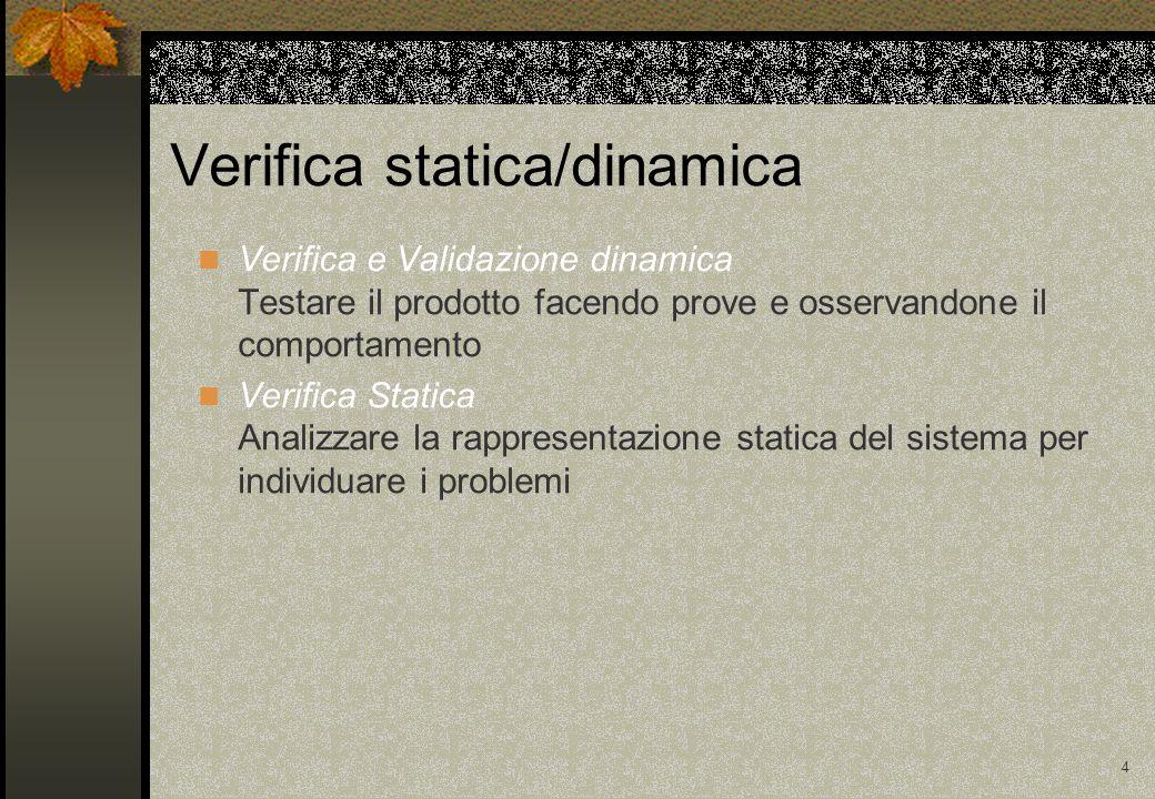 4 Verifica e Validazione dinamica Testare il prodotto facendo prove e osservandone il comportamento Verifica Statica Analizzare la rappresentazione statica del sistema per individuare i problemi Verifica statica/dinamica