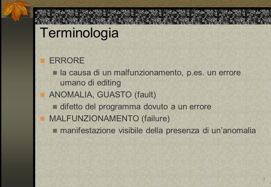 7 Terminologia ERRORE la causa di un malfunzionamento, p.es.