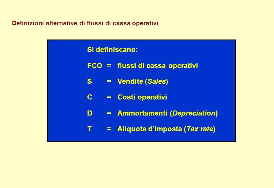 Definizioni alternative di flussi di cassa operativi Si definiscano: FCO = flussi di cassa operativi S= Vendite (Sales) C= Costi operativi D= Ammortam