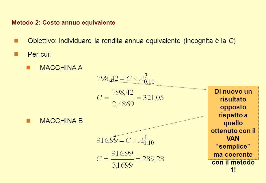 Metodo 2: Costo annuo equivalente Obiettivo: individuare la rendita annua equivalente (incognita è la C) Per cui: MACCHINA A MACCHINA B Di nuovo un ri