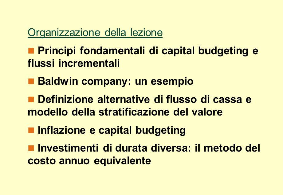 Organizzazione della lezione Principi fondamentali di capital budgeting e flussi incrementali Baldwin company: un esempio Definizione alternative di f