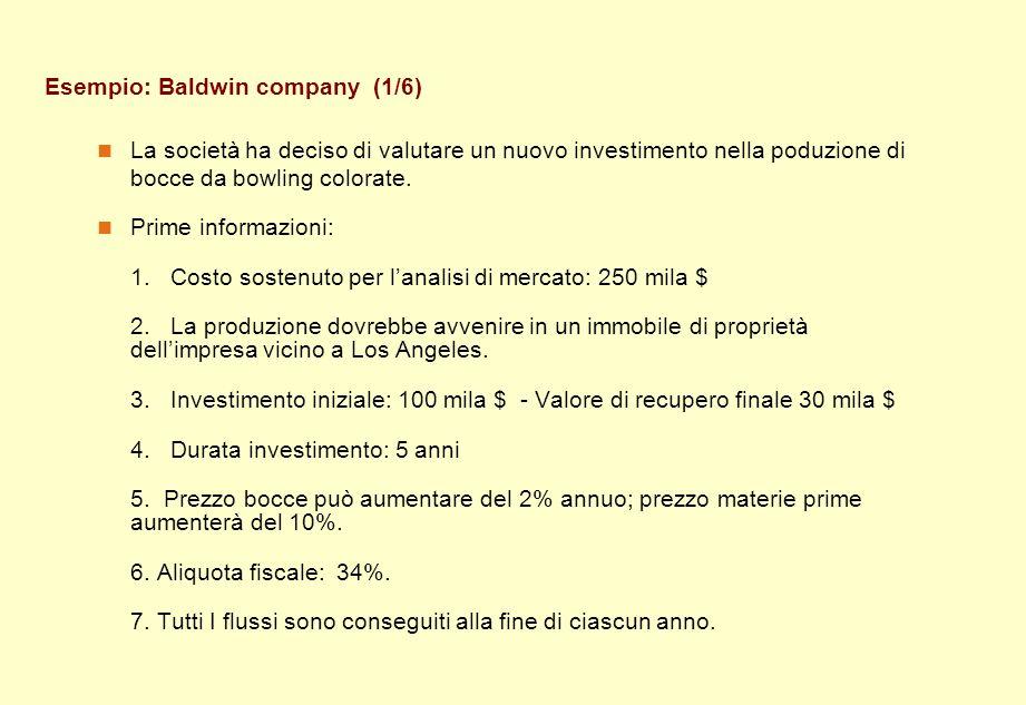 Esempio: Baldwin company (1/6) La società ha deciso di valutare un nuovo investimento nella poduzione di bocce da bowling colorate. Prime informazioni