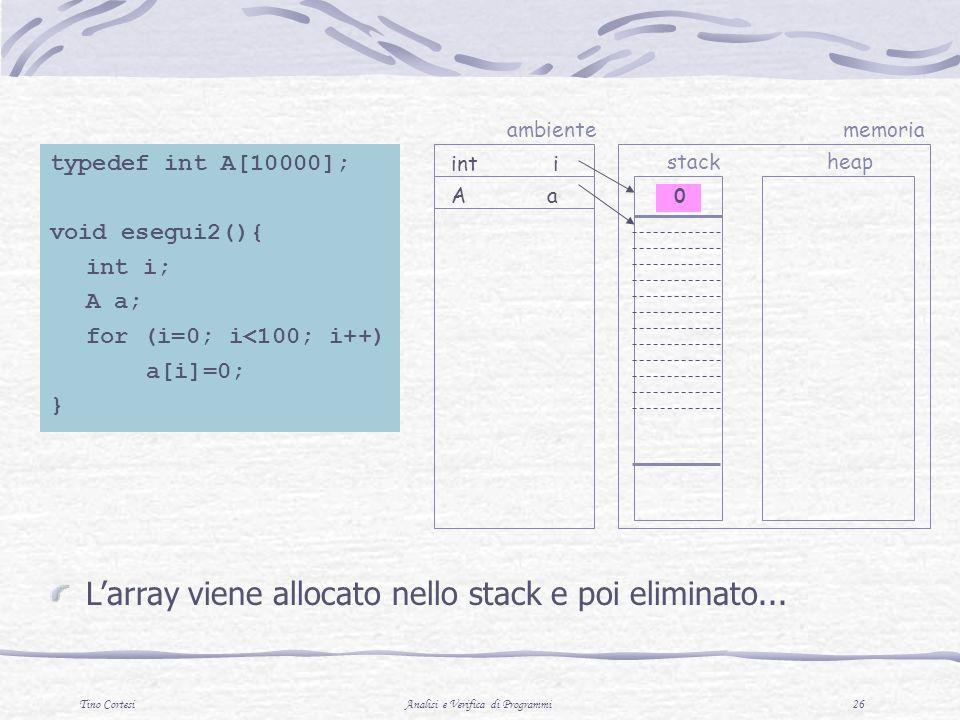 Tino CortesiAnalisi e Verifica di Programmi 26 A a int i ambiente stack memoria heap typedef int A[10000]; void esegui2(){ int i; A a; for (i=0; i<100; i++) a[i]=0; } Larray viene allocato nello stack e poi eliminato...