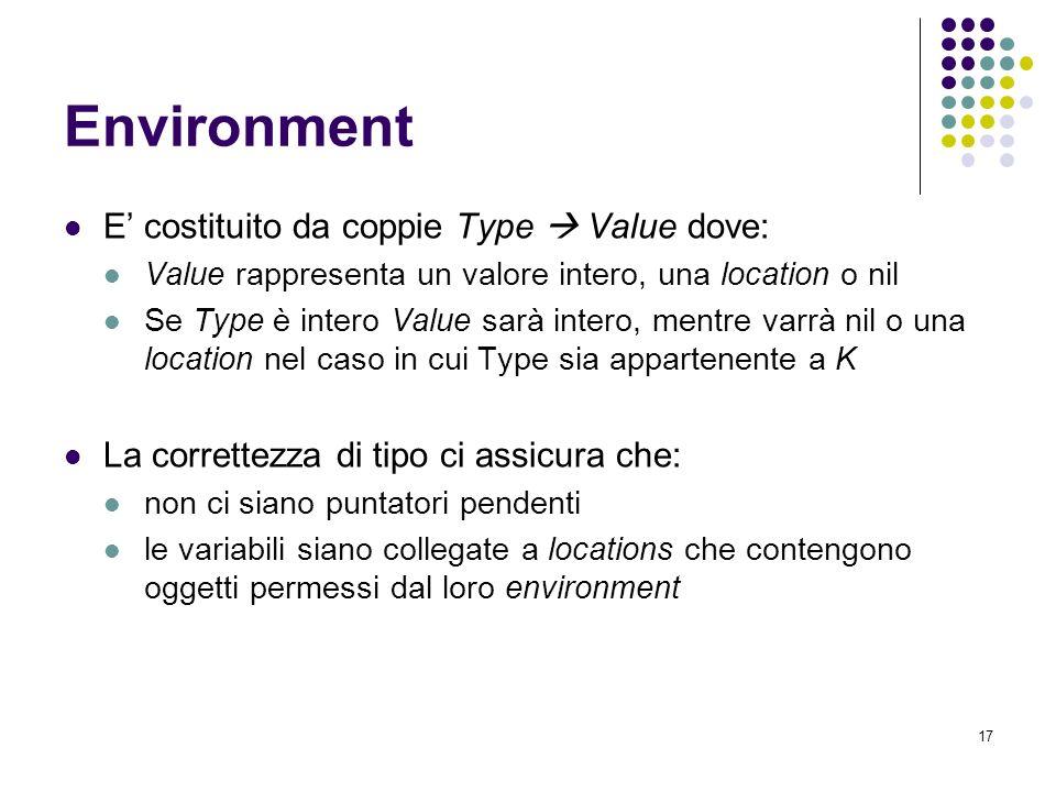 17 Environment E costituito da coppie Type Value dove: Value rappresenta un valore intero, una location o nil Se Type è intero Value sarà intero, mentre varrà nil o una location nel caso in cui Type sia appartenente a K La correttezza di tipo ci assicura che: non ci siano puntatori pendenti le variabili siano collegate a locations che contengono oggetti permessi dal loro environment