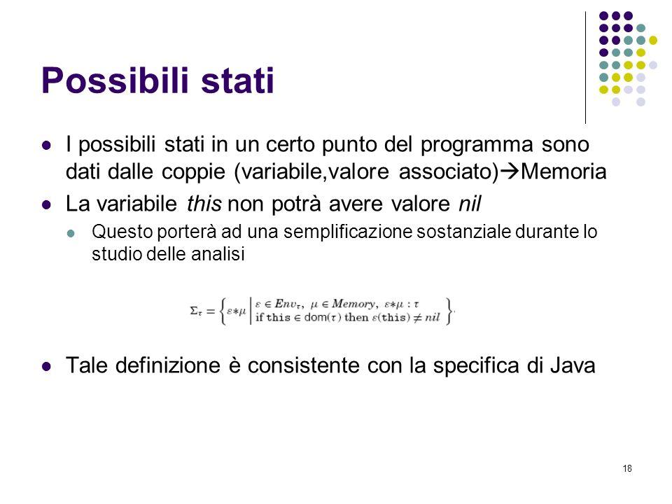 18 Possibili stati I possibili stati in un certo punto del programma sono dati dalle coppie (variabile,valore associato) Memoria La variabile this non potrà avere valore nil Questo porterà ad una semplificazione sostanziale durante lo studio delle analisi Tale definizione è consistente con la specifica di Java