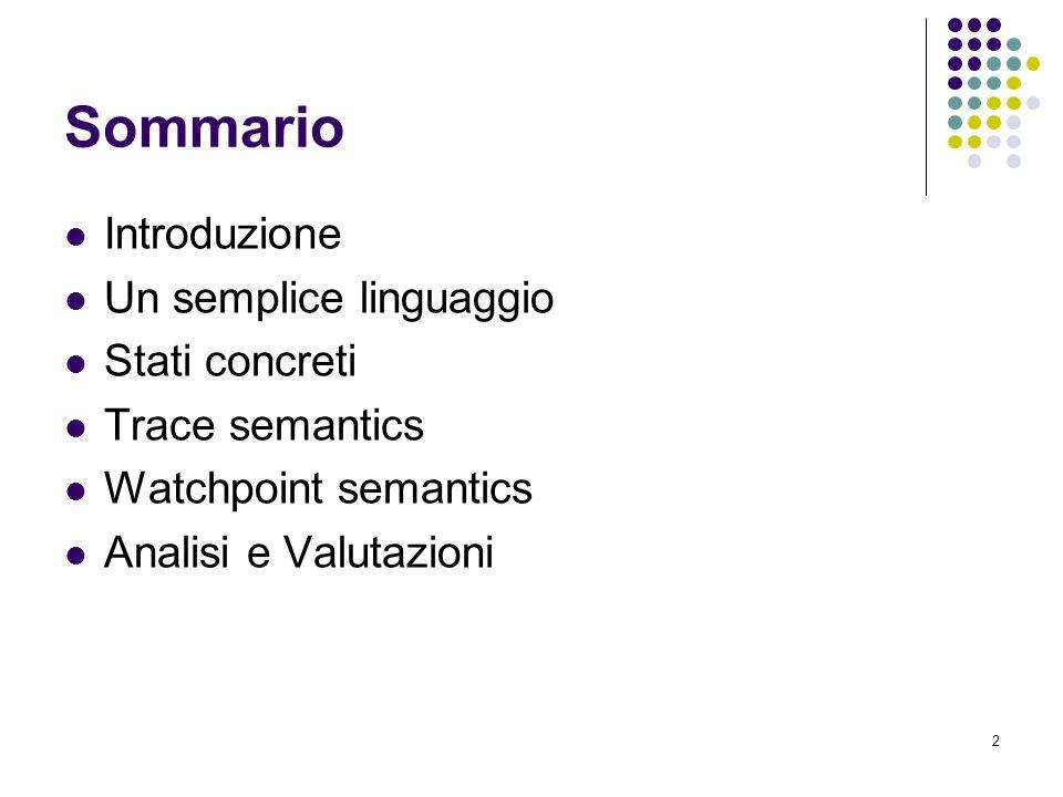 3 Introduzione Studieremo una trace semantic per un semplice linguaggio imperativo orientato agli oggetti attraverso luso di watchpoints Per far ciò definiremo una gerarchia di semantiche Lo scopo è quello di verificare che la semantica che otterremo alla fine sarà focalizzata sui watchpoint Ogni astrazione del dominio computazionale arriva sempre ad una semantica ancora orientata ai watchpoint