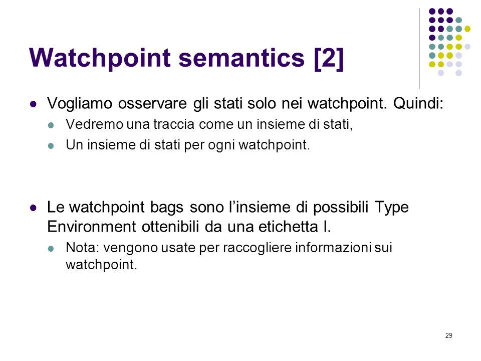 29 Watchpoint semantics [2] Vogliamo osservare gli stati solo nei watchpoint.