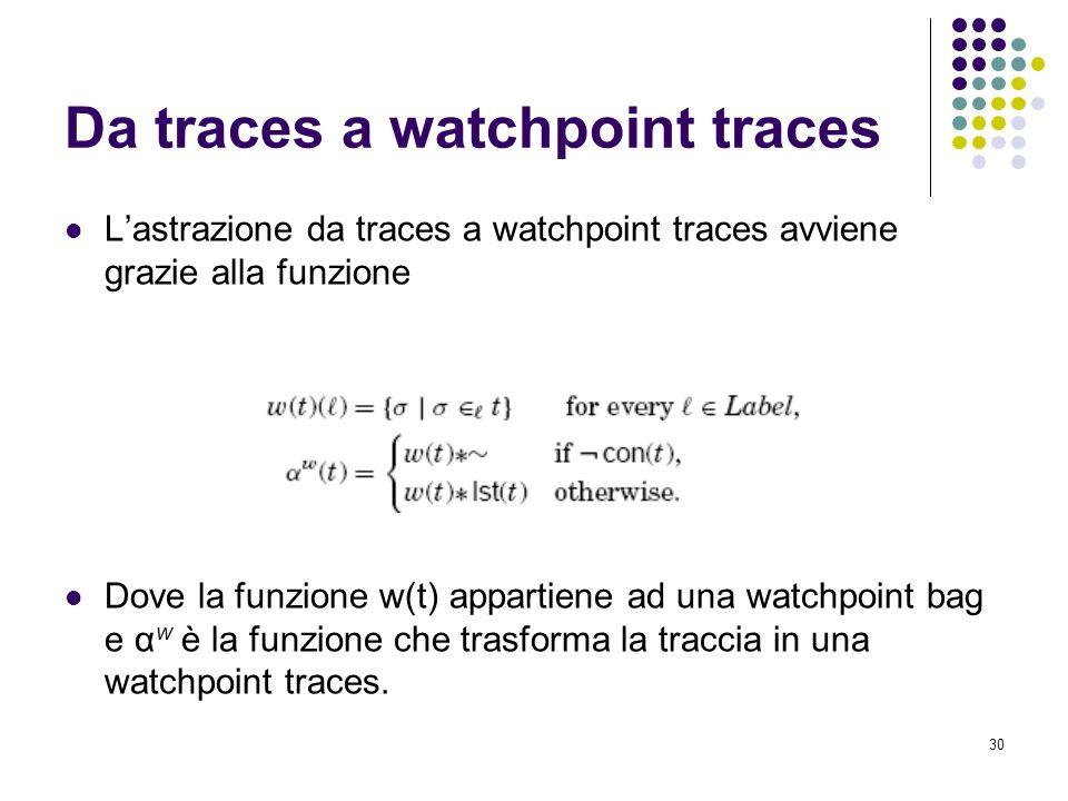 30 Da traces a watchpoint traces Lastrazione da traces a watchpoint traces avviene grazie alla funzione Dove la funzione w(t) appartiene ad una watchpoint bag e α w è la funzione che trasforma la traccia in una watchpoint traces.