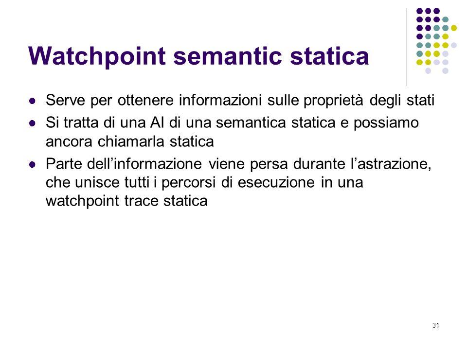 31 Watchpoint semantic statica Serve per ottenere informazioni sulle proprietà degli stati Si tratta di una AI di una semantica statica e possiamo ancora chiamarla statica Parte dellinformazione viene persa durante lastrazione, che unisce tutti i percorsi di esecuzione in una watchpoint trace statica