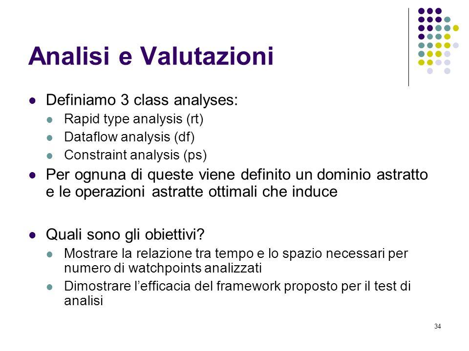 34 Analisi e Valutazioni Definiamo 3 class analyses: Rapid type analysis (rt) Dataflow analysis (df) Constraint analysis (ps) Per ognuna di queste viene definito un dominio astratto e le operazioni astratte ottimali che induce Quali sono gli obiettivi.