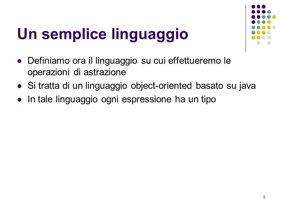 5 Un semplice linguaggio Definiamo ora il linguaggio su cui effettueremo le operazioni di astrazione Si tratta di un linguaggio object-oriented basato su java In tale linguaggio ogni espressione ha un tipo