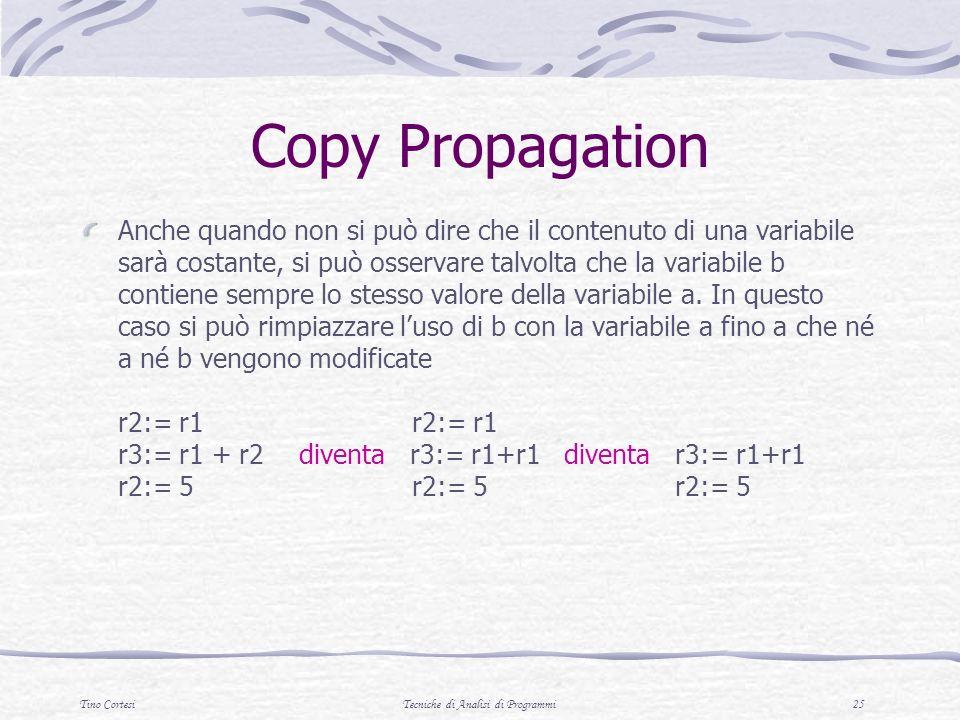 Tino CortesiTecniche di Analisi di Programmi 25 Copy Propagation Anche quando non si può dire che il contenuto di una variabile sarà costante, si può osservare talvolta che la variabile b contiene sempre lo stesso valore della variabile a.