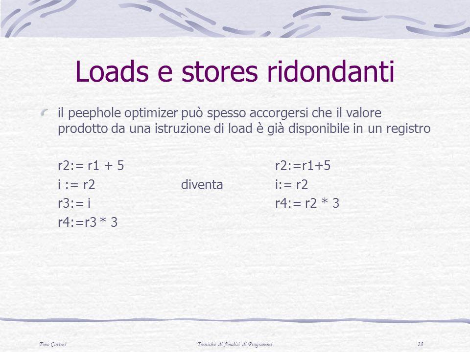 Tino CortesiTecniche di Analisi di Programmi 28 Loads e stores ridondanti il peephole optimizer può spesso accorgersi che il valore prodotto da una istruzione di load è già disponibile in un registro r2:= r1 + 5 r2:=r1+5 i := r2diventa i:= r2 r3:= ir4:= r2 * 3 r4:=r3 * 3