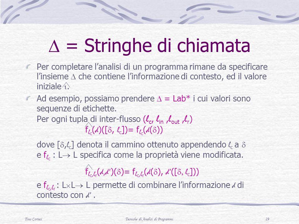 Tino CortesiTecniche di Analisi di Programmi 29 = Stringhe di chiamata Per completare lanalisi di un programma rimane da specificare linsieme che contiene linformazione di contesto, ed il valore iniziale.