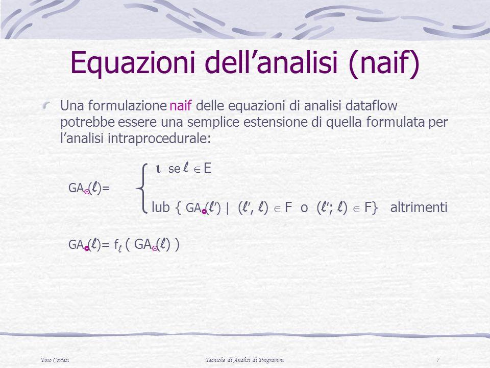 Tino CortesiTecniche di Analisi di Programmi 7 Equazioni dellanalisi (naif) Una formulazione naif delle equazioni di analisi dataflow potrebbe essere una semplice estensione di quella formulata per lanalisi intraprocedurale: se l E GA ( l )= lub { GA ( l ) | ( l, l ) F o ( l ; l ) F} altrimenti GA ( l )= f l ( GA ( l ) )