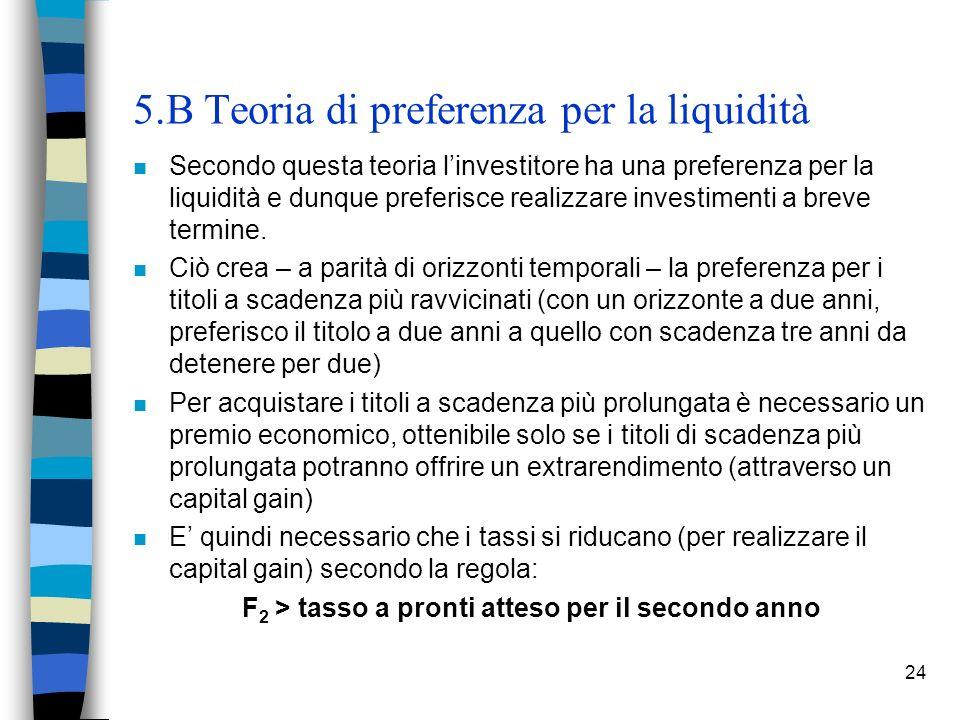 24 5.B Teoria di preferenza per la liquidità n Secondo questa teoria linvestitore ha una preferenza per la liquidità e dunque preferisce realizzare in