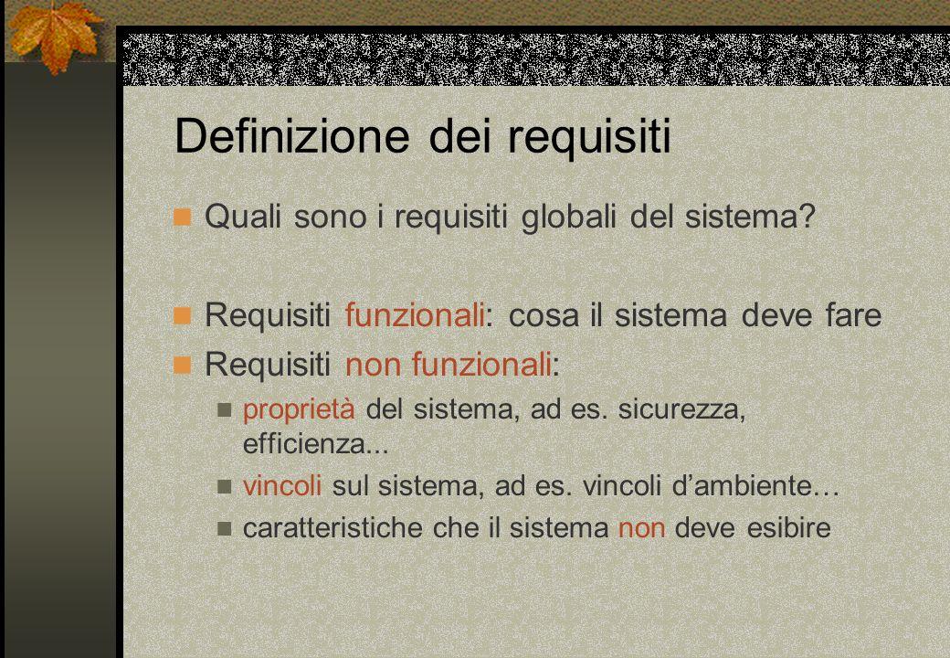 Definizione dei requisiti Quali sono i requisiti globali del sistema? Requisiti funzionali: cosa il sistema deve fare Requisiti non funzionali: propri