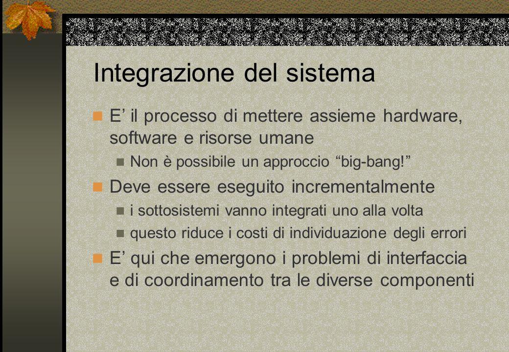 E il processo di mettere assieme hardware, software e risorse umane Non è possibile un approccio big-bang! Deve essere eseguito incrementalmente i sot