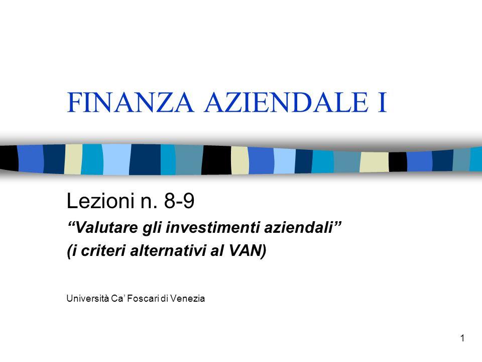 1 FINANZA AZIENDALE I Lezioni n.