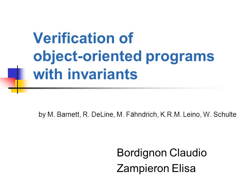 Verification of object-oriented programs with invariants by M.