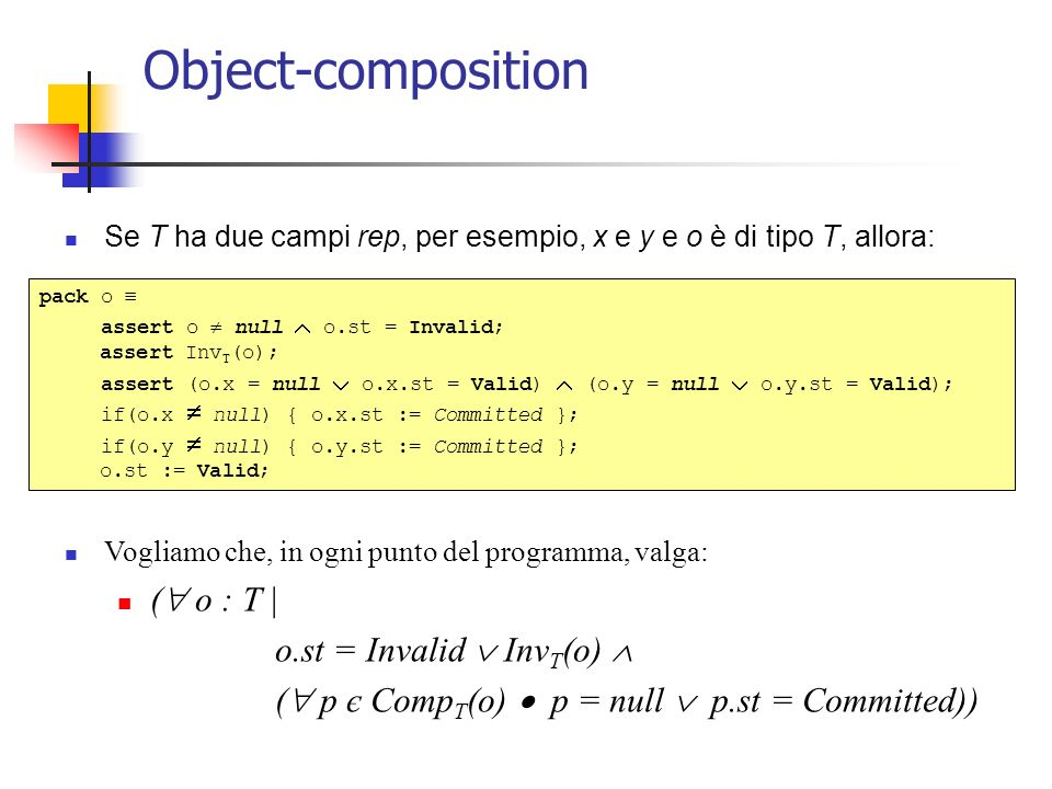 Object-composition Se T ha due campi rep, per esempio, x e y e o è di tipo T, allora: Vogliamo che, in ogni punto del programma, valga: ( o : T | o.st = Invalid Inv T (o) ( p є Comp T (o) p = null p.st = Committed)) pack o assert o null o.st = Invalid; assert Inv T (o); assert (o.x = null o.x.st = Valid) (o.y = null o.y.st = Valid); if(o.x null) { o.x.st := Committed }; if(o.y null) { o.y.st := Committed }; o.st := Valid;