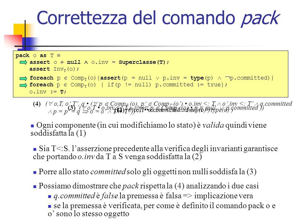 Correttezza del comando pack pack o as T assert o null o.inv = Superclasse(T); assert Inv T (o); foreach p є Comp T (o){assert(p = null p.inv = type(p) p.committed)} foreach p є Comp T (o) { if(p != null) p.committed := true}; o.inv := T; Ogni componente (in cui modifichiamo lo stato) è valida quindi viene soddisfatta la (1) (1) ( o,T o.committed o.inv = type(o) ) Sia T<:S.