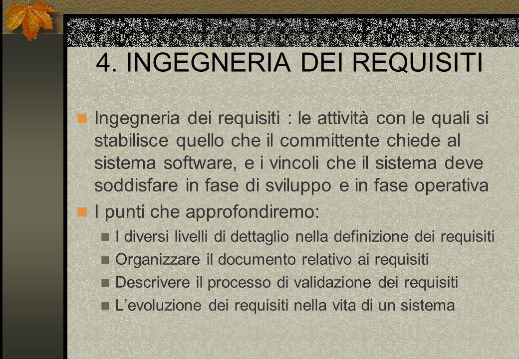 4. INGEGNERIA DEI REQUISITI Ingegneria dei requisiti : le attività con le quali si stabilisce quello che il committente chiede al sistema software, e