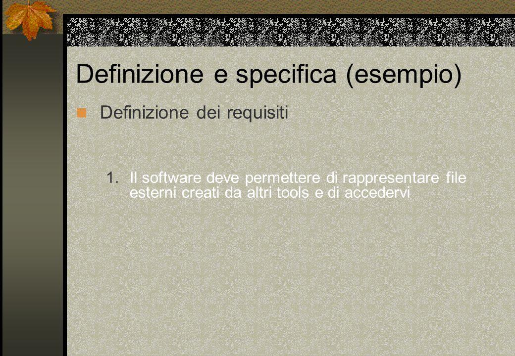 Definizione e specifica (esempio) Definizione dei requisiti 1. Il software deve permettere di rappresentare file esterni creati da altri tools e di ac